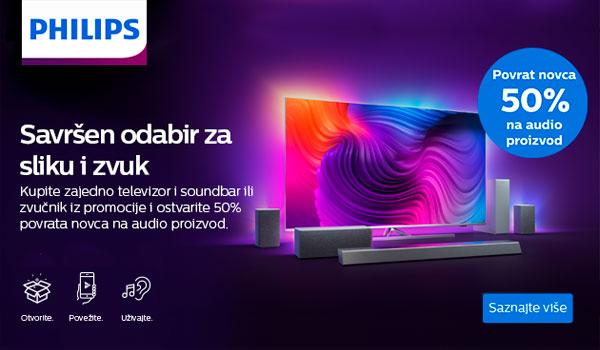 """Philips kampanja """"Povrat novca 50% na audio proizvod"""" uz TV modele Performance serije"""